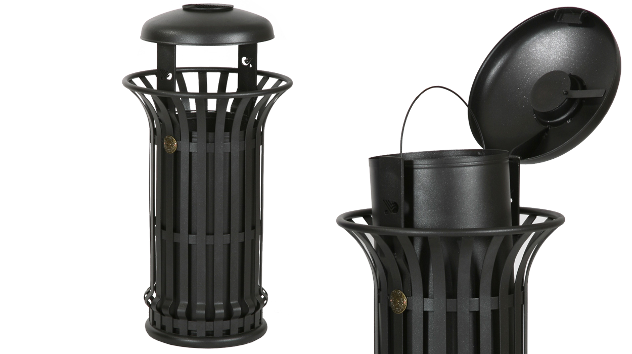 Cestone mida con coperchio e posacenere vimpex arredo urbano for Dimcar arredo urbano